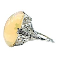 Art Deco Filigree & Ethiopian Opal Cocktail Ring
