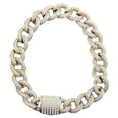 5 1/2 Carat Diamond & Solid Gold Curb Link Bracelet