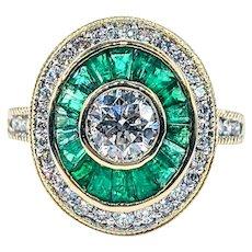 Gorgeous Diamond & Emerald Cocktail Ring
