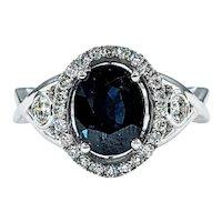 Deep Blue Sapphire & Diamond Cocktail Ring