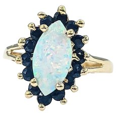 Mid Century Opal & Sapphire Cocktail Ring