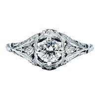 Romantic Art Deco Diamond Engagement Ring