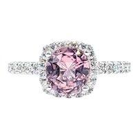 Bright Pink Tourmaline & Diamond Ring