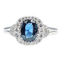 Lovely Sapphire & Diamond Dress Ring