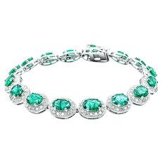 Splendid Emerald & Diamond Tennis Bracelet