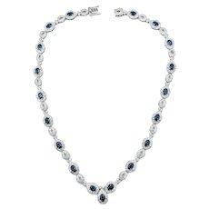 Regal Sapphire & Diamond Necklace - Platinum