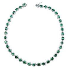 Stunning Emerald & Diamond Riviere Necklace