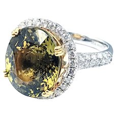 EXTREMELY RARE 13 Carat Natural Alexandrite & Diamond Ring with GIA Report