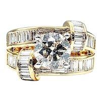 Extravagant Contemporary Diamond & 18K Gold Ring