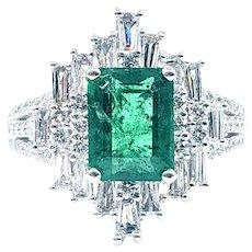 Striking Emerald & Multi Cut Diamond Cocktail Ring