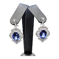 Exceptional Tanzanite & Diamond Earrings - 18K White Gold