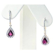 RARE & Exquisite Unheated Natural Ruby & Diamond Earrings