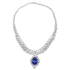 Exceptional Tanzanite & Diamond Necklace - 18K White Gold