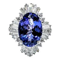 Rich Tanzanite & Baguette Diamond Cocktail Ring