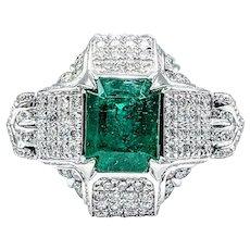 Unique & Impressive Emerald & Diamond Cocktail Ring - Platinum