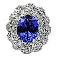 Delightful Tanzanite & Diamond Cocktail Ring