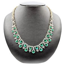 Spectacular Emerald & Diamond Two-Row Necklace