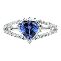 Beautiful Trillion Cut Tanzanite & Diamond Dress Ring