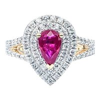 RARE & Exquisite Unheated Natural Ruby & Diamond Ring