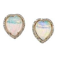 Lovely Opal & Diamond Stud Earrings