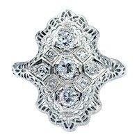 Stunning Art Deco Diamond Navette Ring