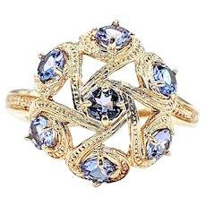 Beautiful Tanzanite & 14K Gold Cocktail Ring