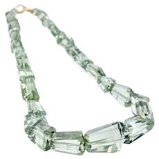 Stunning Green Amethyst Necklace with 14K Gold Clasp