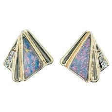 Colorful Retro Opal & Diamond Stud Earrings