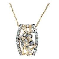 Gorgeous LeVian White & Chocolate Diamond Pendant Necklace