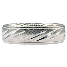 Textured White Gold Men's Wedding Ring