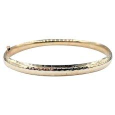 Vintage Hammered 14K Gold Bangle Bracelet