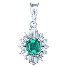 Delicate Emerald & Diamond Pendant - Platinum