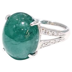 Alluring Cabochon Emerald & Diamond Cocktail Ring