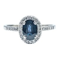Classic Sapphire & Diamond Halo Ring
