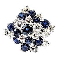 Mid Century Diamond & Sapphire Cluster Ring