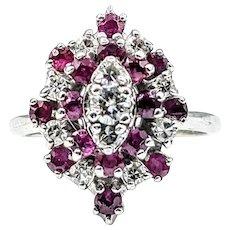 Mid Century Diamond & Ruby Cluster Ring
