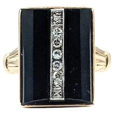 Art Deco Onyx & Diamond Cocktail Ring