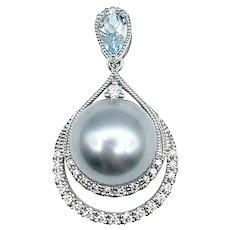 Sophisticated Pearl, Diamond & Aquamarine Drop Pendant