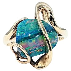 Australian Black Opal Doublet & Solid Gold Cocktail Ring