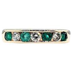 Classic Diamond & Emerald Wedding Band