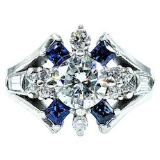 Exceptional Brilliant Diamond & Sapphire Ring