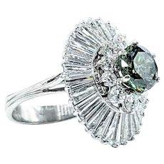 Extraordinary 2.44 Carat Green Diamond Cocktail Ring