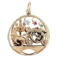 Spectacular 3D Gold & Gemstone Cinderella Pendant
