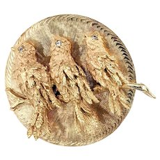 Sculpted 14K Gold & Diamond Songbird Pin / Pendant