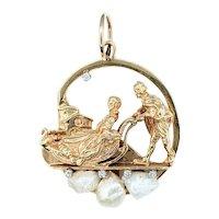 "Beautifully Detailed Gold, Pearl & Diamond ""Sleigh Ride"" Pendant"
