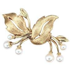 Elegant Cultured Pearl & 14K Gold Brooch / Pin