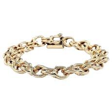 Beautiful 14K Gold Double Ring Charm Bracelet