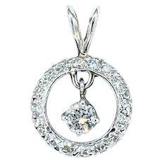 Flashing Diamond & 14K White Gold Pendant