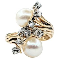 Unique Cultured Pearl & Diamond Cocktail Ring