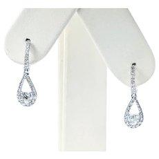 Classy Diamond & White Gold Drop Earrings